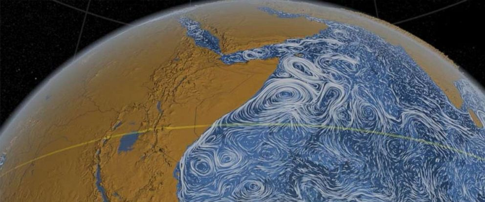 PHOTO: The Great Whirl, a massive whirlpool that forms each year off the coast of East Africa, is shown here in a visualization of ocean currents in the Indian Ocean.