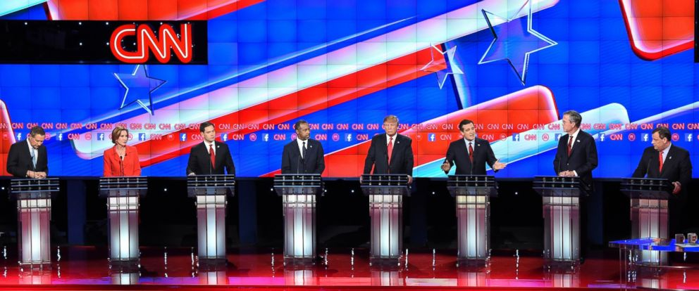 PHOTO: Republican presidential candidates John Kasich, Carly Fiorina, Marco Rubio, Ben Carson, Donald Trump, Ted Cruz, Jeb Bush, Chris Christie and Rand Paul take the stage during the Republican Presidential Debate on Dec.15, 2015 in Las Vegas.