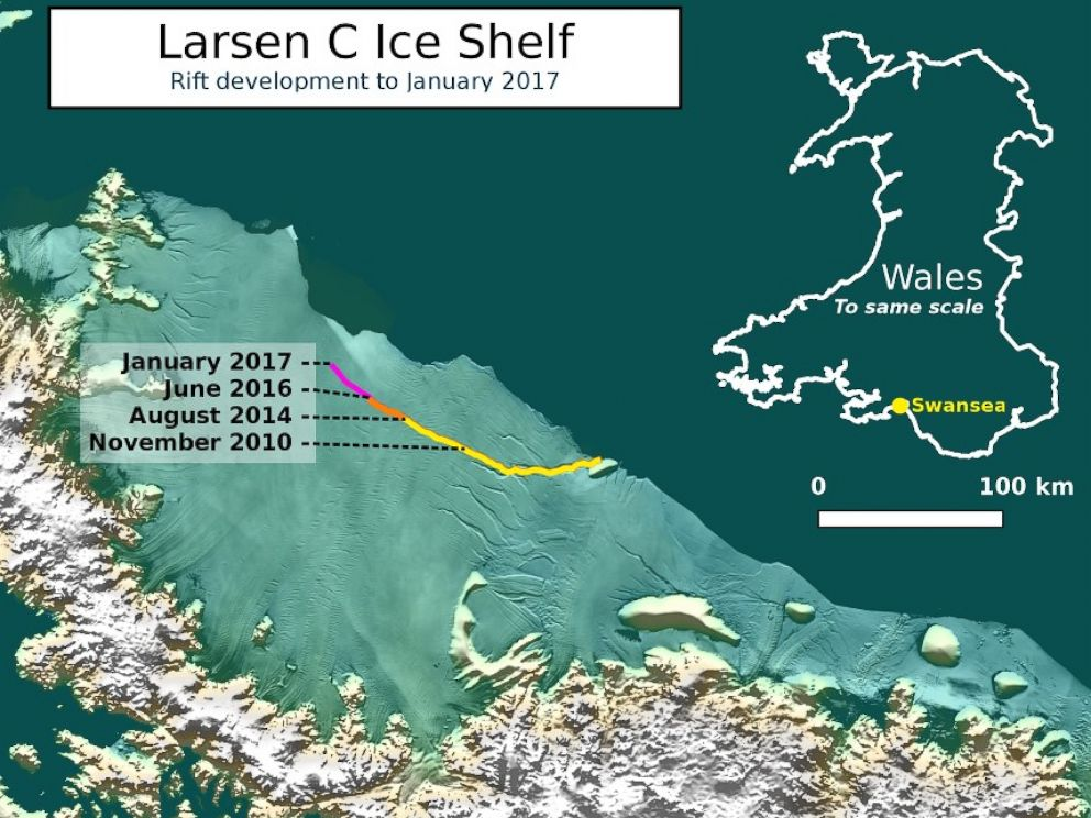 PHOTO: This image shows the development of a rift in the Larsen C ice shelf in Antarctica up to January 2017. The labels of dates along the rift mark when significant growths in the rifts length were recorded.