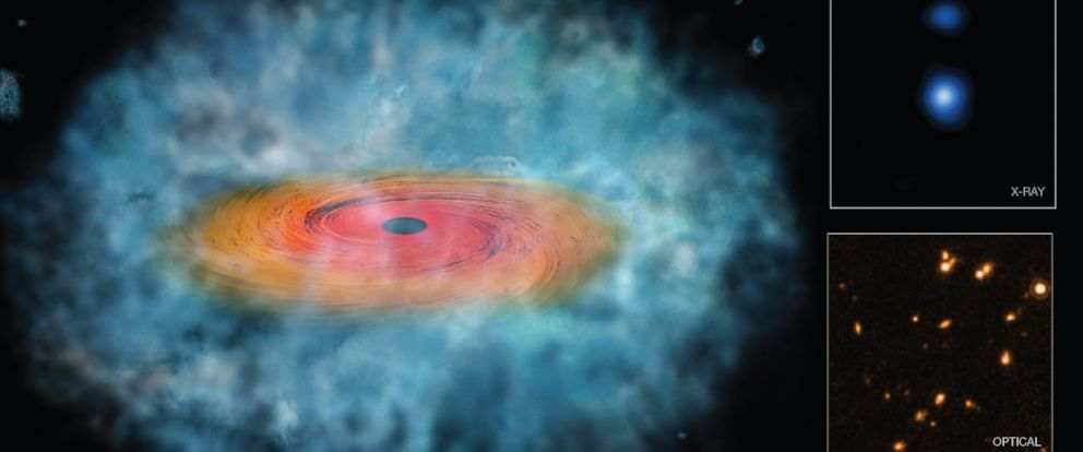 PHOTO: This illustration represents the best evidence to date that the direct collapse of a gas cloud produced supermassive black holes in the early Universe.