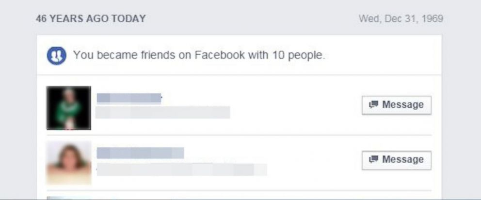 """PHOTO:Facebooks """"On This Day"""" feature is claiming some people became friends on the social network 46 years ago."""