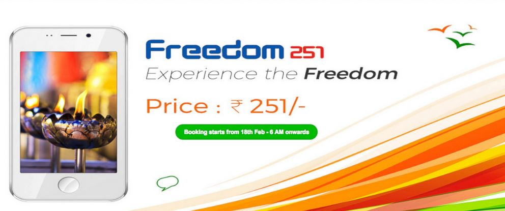 PHOTO: he Freedom 251, a low cost smartphone, is available in India.
