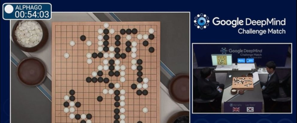 PHOTO: Lee Sedol vs. AlphaGo on day one of five-day match.