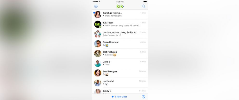 PHOTO: Kik, a popular messaging app, is seen in this photo.