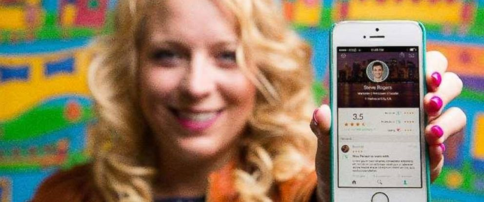 PHOTO: Julia Cordray, the co-founder of Peeple, is pictured holding an iPhone with the Peeple App displayed on its screen in this undated file photo.