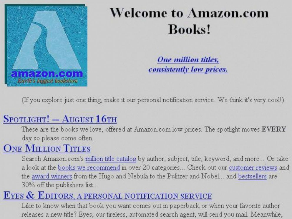 PHOTO: In this undated file photo Amazons first gateway page is shown.