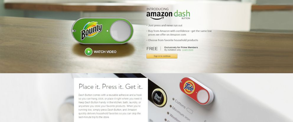 Amazons Push To Buy Dash Buttons Go On Sale Abc News