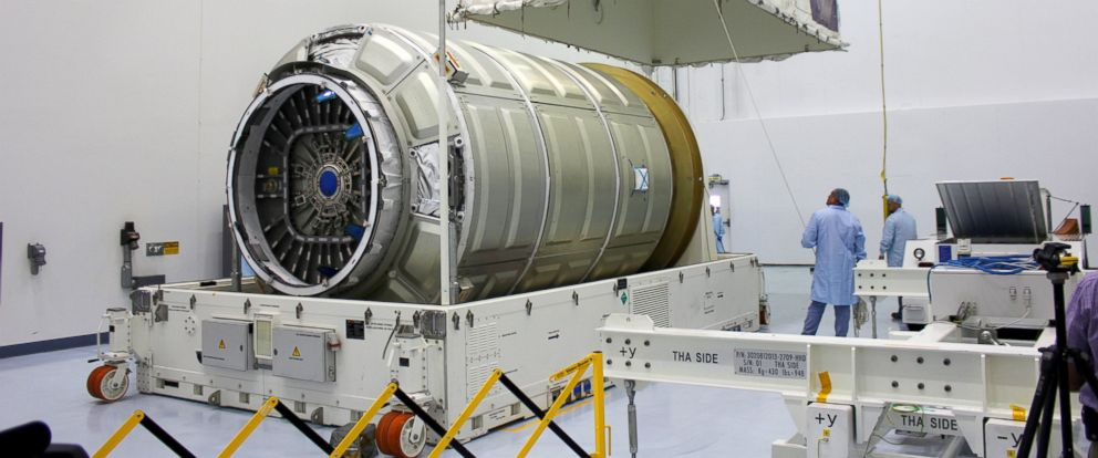 PHOTO: The Cygnus Pressurized Cargo Module for the OA-4 mission arrived at the Kennedy Space Center on August 10 for processing in preparation for the upcoming CRS space station resupply mission to be launched from Florida in early December.