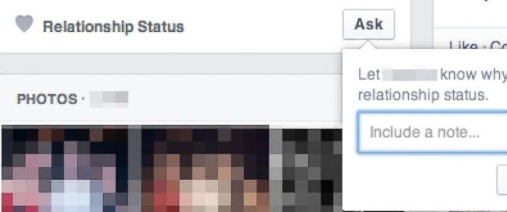 "PHOTO: Facebook allows users to ""ask"" others about their relationship status with a new button."