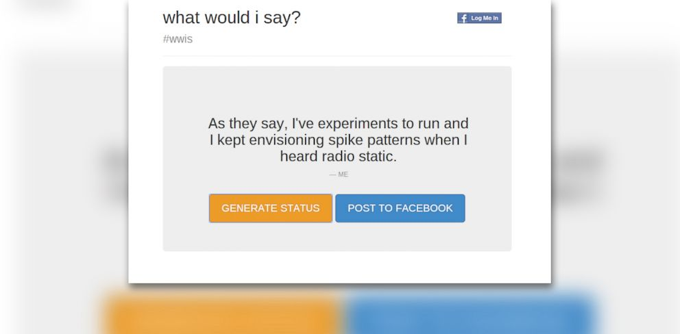 "PHOTO:""What Would I Say?"" creates status updates on the spot."