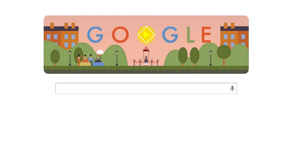 """PHOTO: Googles """"doodle"""" for the 216th anniversary of the first parachute jump includes a playable minigame."""
