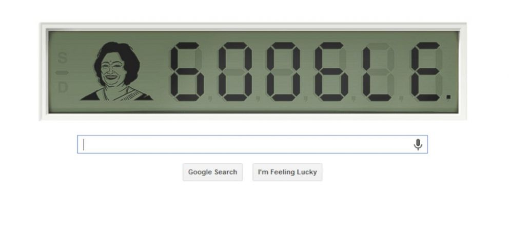 """PHOTO: Todays Google Doodle pays homage to Shakuntala Devi, also known as """"the human computer."""""""