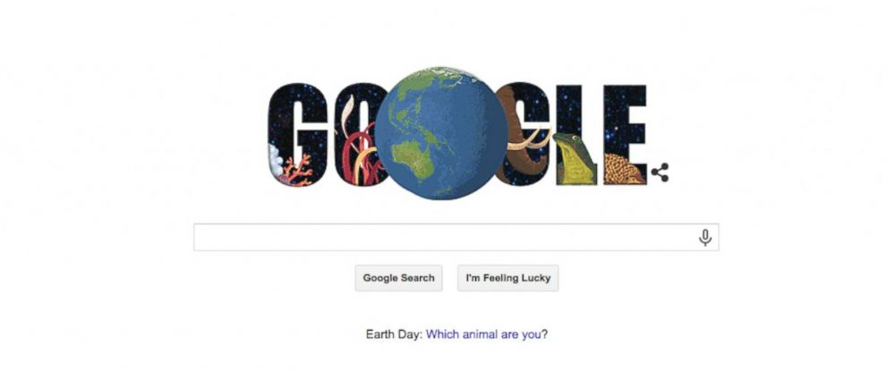 PHOTO: The Google Doodle for April 22, 2015, designed in celebration of Earth Day.