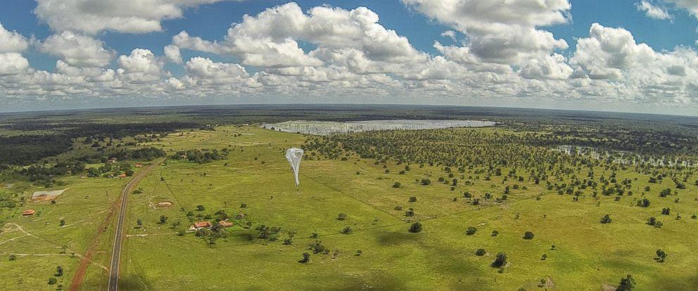"""PHOTO: A """"Project Loon"""" balloon launches, heading toward the Linoca Gayoso Castelo Branco school, near Campo Maior, Brazil, May 28, 2014."""