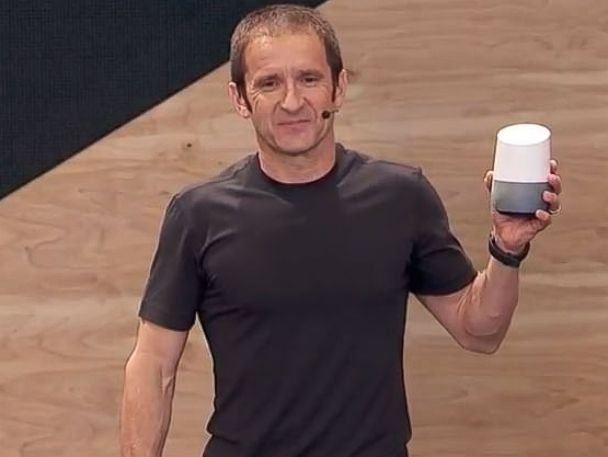 PHOTO: Mario Queiroz, vice president of product management at Google, holds the new Google Home assistant.