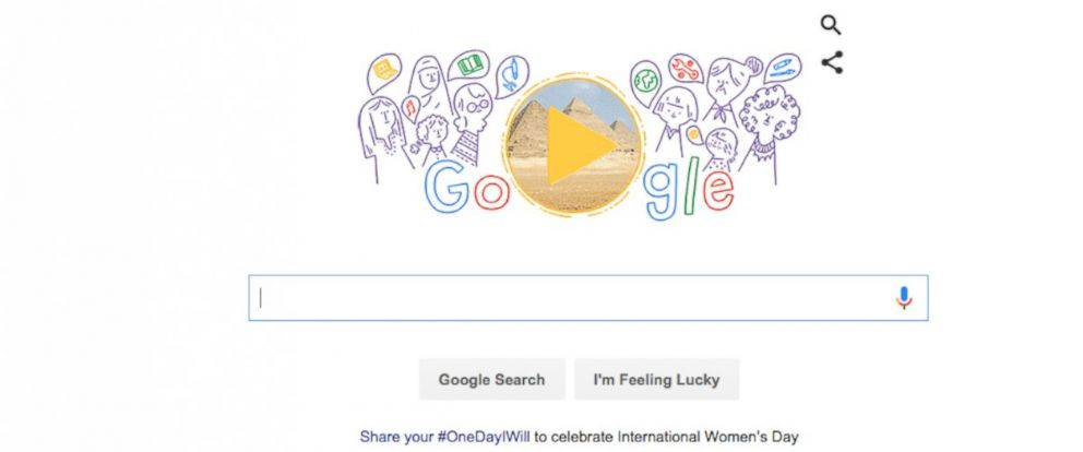 PHOTO:Googles doodle, pictured, celebrates International Womens Day, March 8, 2016.