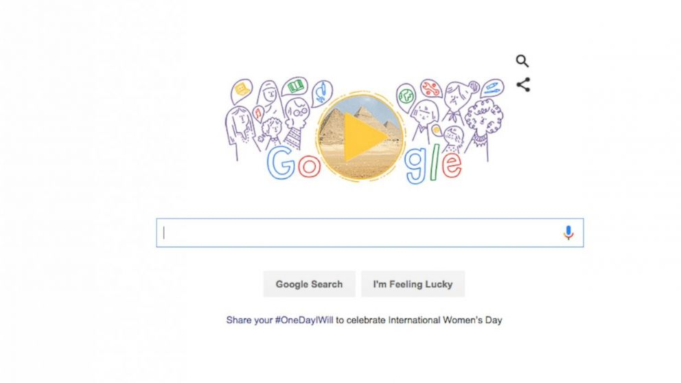Google's doodle, pictured, celebrates International Women's Day, March 8, 2016.