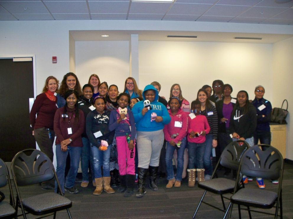 PHOTO: Members of the Girls Who Code club at Brookview Shelter in Dorchester, Massachusetts, are pictured here during a field trip to the headquarters of Akamai Technologies in Cambridge, Massachusetts.