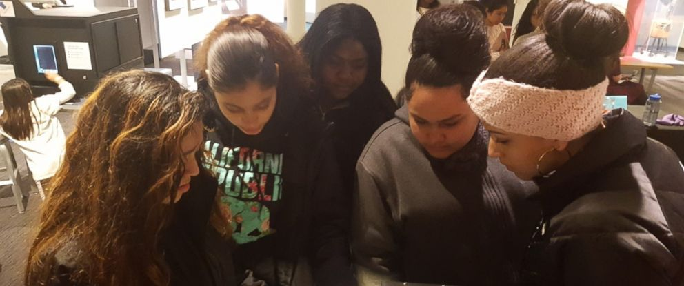 PHOTO: Members of the Girls Who Code club at Brookview Shelter in Dorchester, Massachusetts, are pictured here during a field trip to the Massachusetts Institute of Technology (MIT) in Cambridge, Massachusetts.