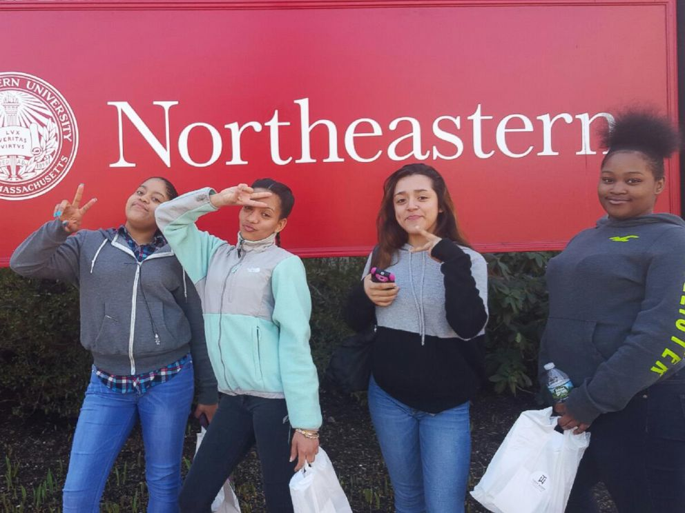 PHOTO: Members of the Girls Who Code club at Brookview Shelter in Dorchester, Massachusetts, are pictured here during a field trip to Northeastern University in Boston.