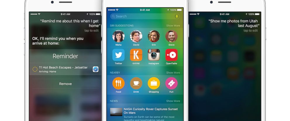 PHOTO: Apples iOS9 new updated features includes an improved and faster Siri.