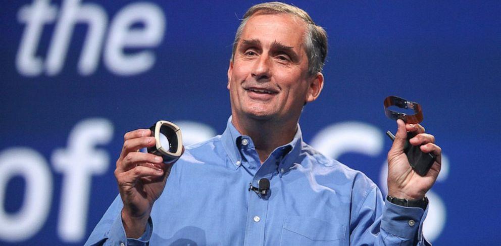 PHOTO: Intel CEO Brian Krzanich shows off prototype devices utilizing Intels new Quark processor.