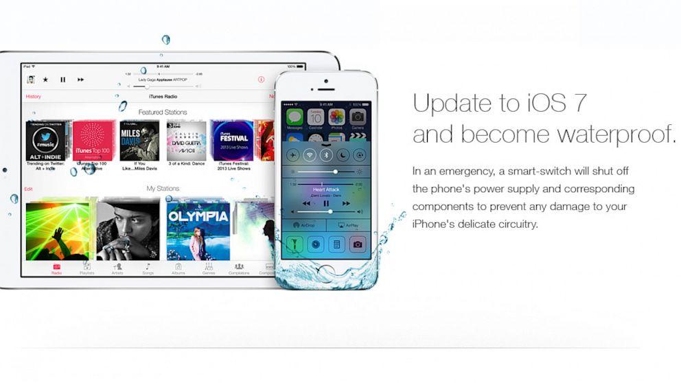 Fake Apple Ad Claims iOS 7 Update Waterproofs Phones - ABC News
