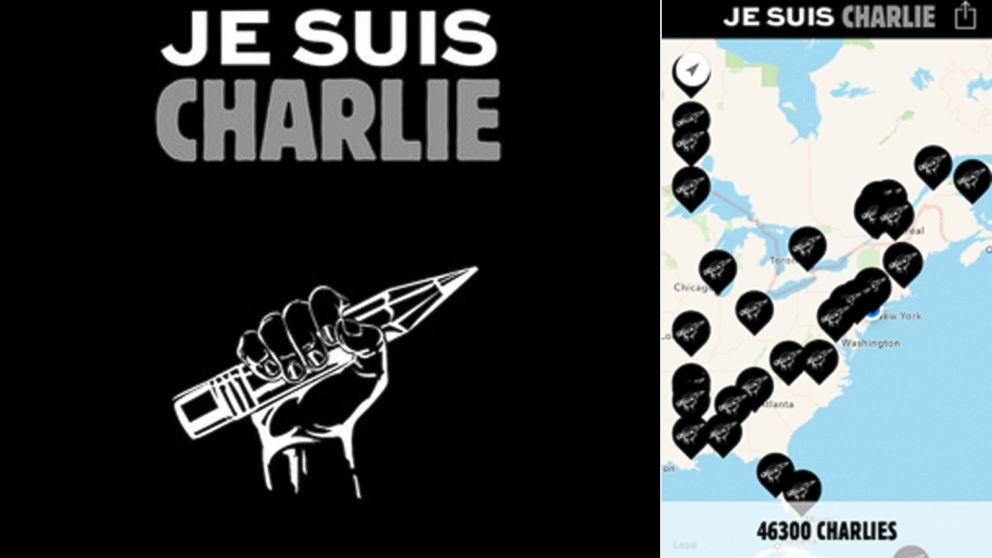 Je Suis Charlie App Shows Worldwide Support For French Terror Attack Victims Abc News