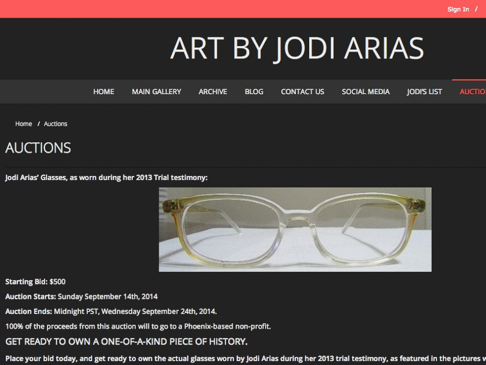 PHOTO: Jodi Arias is auctioning the glasses she wore at her trial.