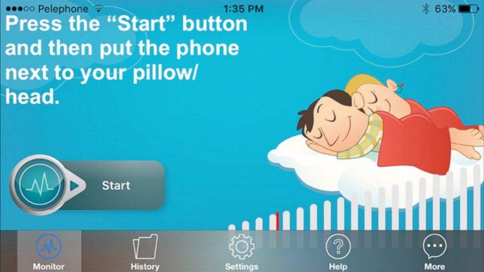 The QuitSnoring app lets users learn how much they snored during the night and displays the data in a graph.