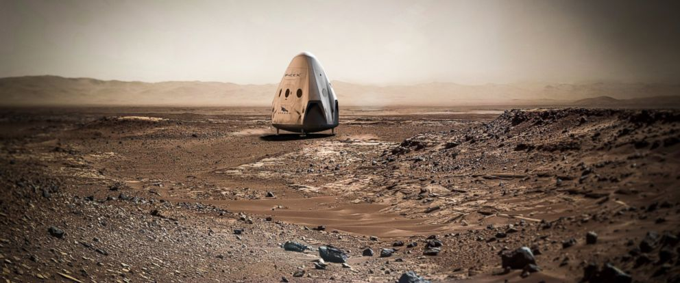 "PHOTO: SpaceX may send a mission to Mars as early as 2018. Pictured here is a rendering of the Dragon spacecraft. The ""Dragon 2"" is the spacecraft that SpaceX says will go to Mars."