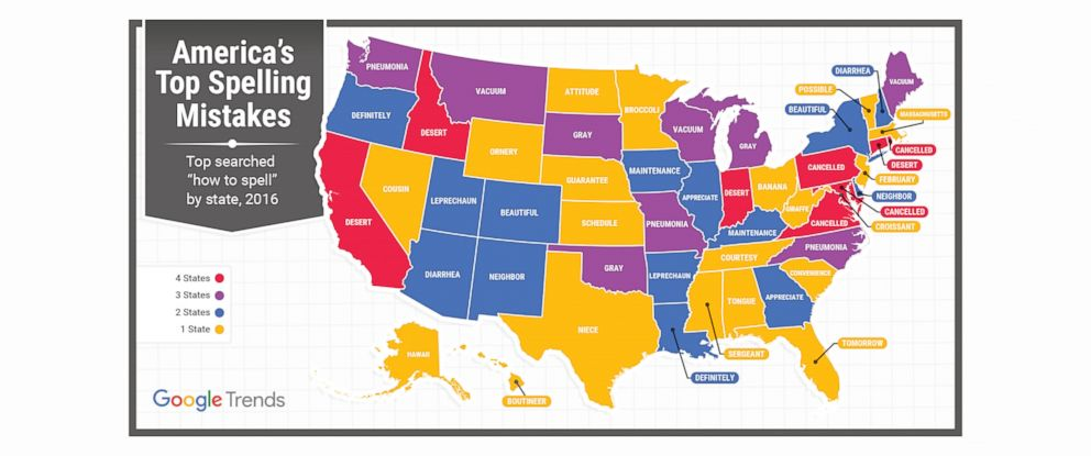 PHOTO: Google Search Trends revealed the top misspelled word in each state.