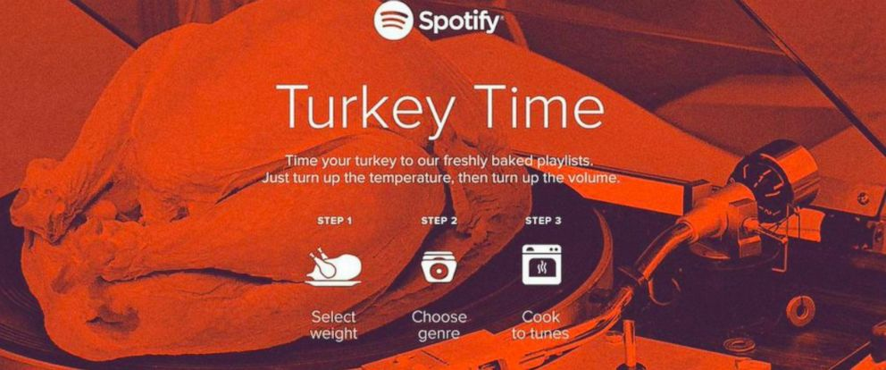 "PHOTO: Spotify launches ""Turkey Timer"" in time for Thanksgiving."