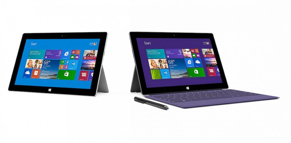 PHOTO: Microsofts Surface 2 and Surface Pro 2.