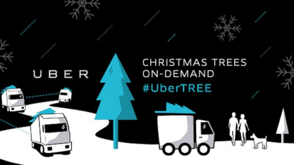 The car-hiring service Uber, with the help of Home Depot, will deliver Christmas trees to Uber members for  $135.