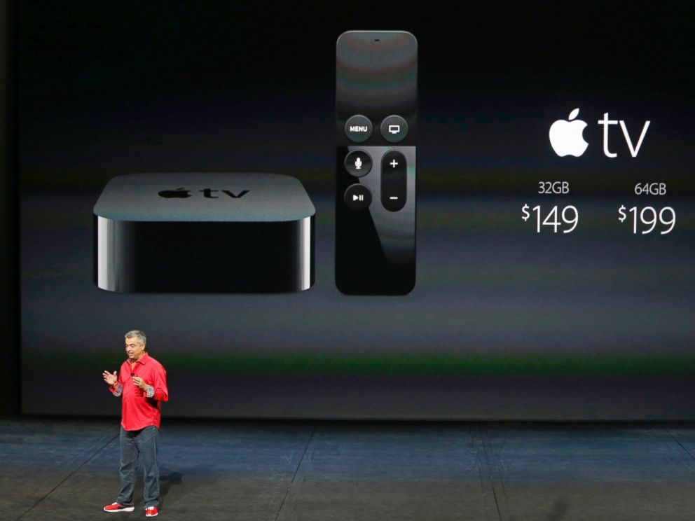 PHOTO: Eddie Cue, Apples senior vice president of Internet Software and Services, discusses Apple TV pricing during an Apple media event in San Francisco, Sept. 9, 2015.