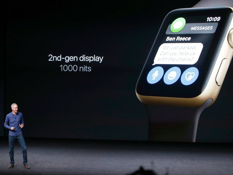 PHOTO: Apple Inc. COO Jeff Williams discusses the Apple Watch Series 2 during an Apple media event in San Francisco, Sept. 7, 2016.