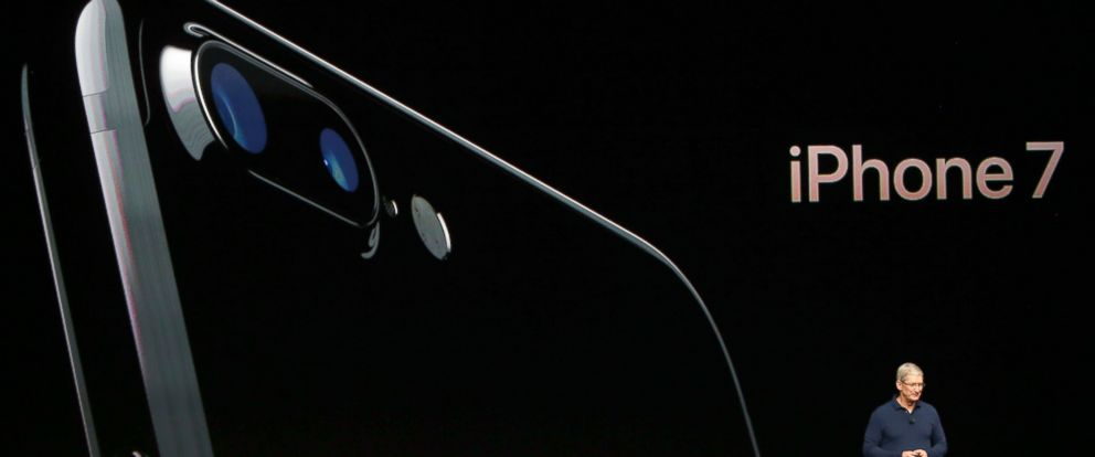 PHOTO: Apple Inc CEO Tim Cook discusses the iPhone 7 during an Apple media event in San Francisco, Sept. 7, 2016.