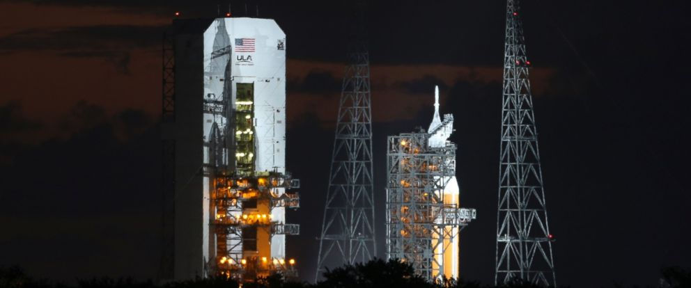 PHOTO: The Delta IV Heavy rocket carrying the Orion spacecraft sits on the launch pad awaiting lift off from the Cape Canveral Air Force Station in Cape Canaveral, Fla. Dec. 5, 2014.