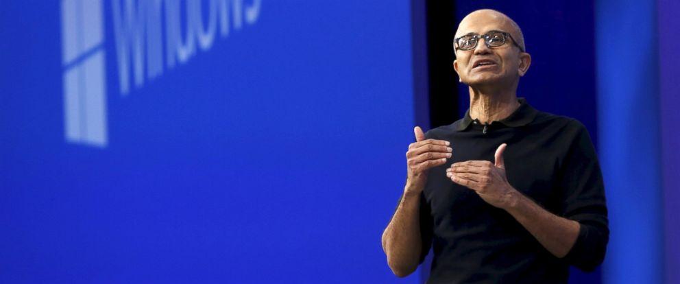 PHOTO: Microsoft CEO Satya Nadella delivers his keynote address at Microsoft Build in San Francisco, April 29, 2015.