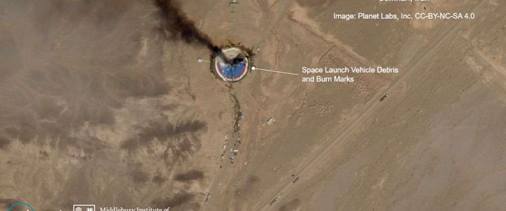 This satellite image from Planet Labs Inc., that has been annotated by experts at the James Martin Center for Nonproliferation Studies at Middlebury Institute of International Studies, shows a fire at a rocket launch pad at the Imam Khomeini Space Ce