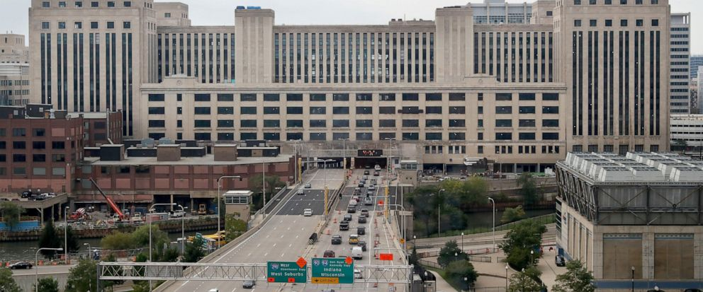 The Old Chicago Main Post Office straddles the Eisenhower Expressway on the banks of the south branch of the Chicago River, Monday, Sept. 9, 2019. Uber announced Monday that Uber Freight will be headquartered in Chicago at the expansive building. (AP