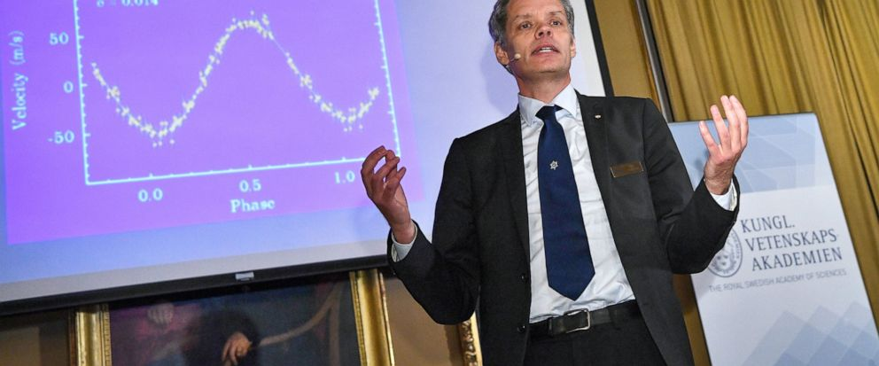 Ulf Danielsson, member of the Nobel committee talks during the announcement of the winners of the 2019 Nobel Prize in Physics during news conference at the Royal Swedish Academy of Sciences in Stockholm, Sweden, on Tuesday Oct. 8, 2019. The 2019 Nobe