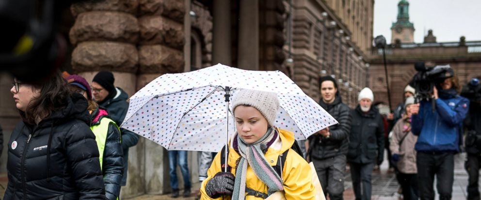 Activist Greta Thunberg, foreground, participates in a climate protest, in central Stockholm Sweden, Friday, March 15, 2019. Students worldwide skipped classes Friday to take to the streets to protest their governments failure to take sufficient act