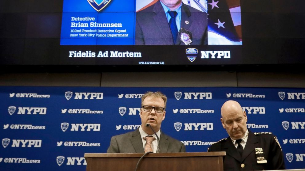 New York Police Department Chief Terence Monahan, right, and Deputy Chief Kevin Maloney, left, hold a press conference Wednesday Feb. 13, 2019, at police headquarters in New York. Officials say seven officers fired a total of 42 rounds during the chaotic scene that resulted in the friendly fire death of a New York Police Department Detective Brian Simonsen. (AP Photo/Bebeto Matthews)
