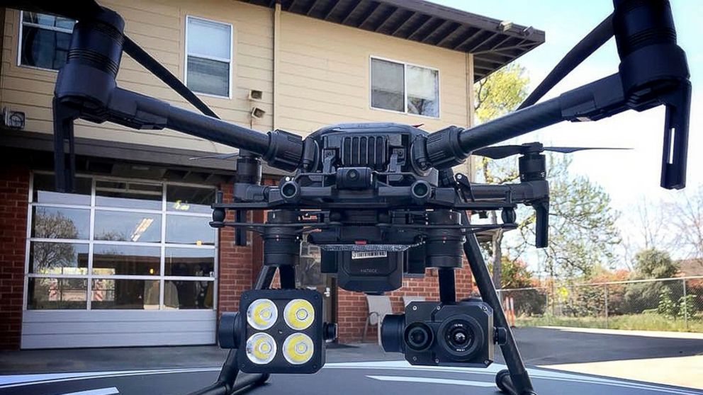 This 2018 photo provided by the Menlo Park Fire Protection District shows a DJI drone with a thermal-imaging camera designed by FLIR Systems in Menlo Park, Calif. Law enforcement officers used heat-seeking drones like this to search for victims of the tornadoes that ravaged a rural corner of Alabama on Sunday, March 3, 2019. (Menlo Park Fire Protection District via AP)