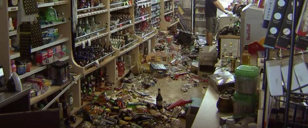 This still image taken from video shows bottles and debris on the floor of a liquor store as a result from the earthquake in Ridgecrest, Calif., on Saturday, July 6, 2019. The quake struck at 8:19 p.m. Friday and was centered 11 miles (18 kilometers)