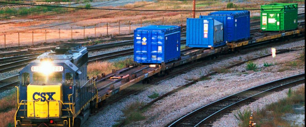FILE - In this Sept. 29, 1994 file photo, a CSX Train with spent nuclear fuel passes through Florence, S.C., on its way to Savannah River Site Weapons Complex near Aiken S.C. Nevada and South Carolina were jostling for a home-field advantage of sorts