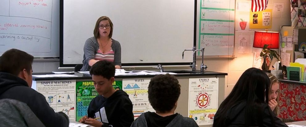 In this April 25, 2019, photo, science teacher Sarah Ott speaks to her class about climate literacy in Dalton, Ga. Teachers across the country describe struggles finding trustworthy materials to help them teach their students about climate change. (A