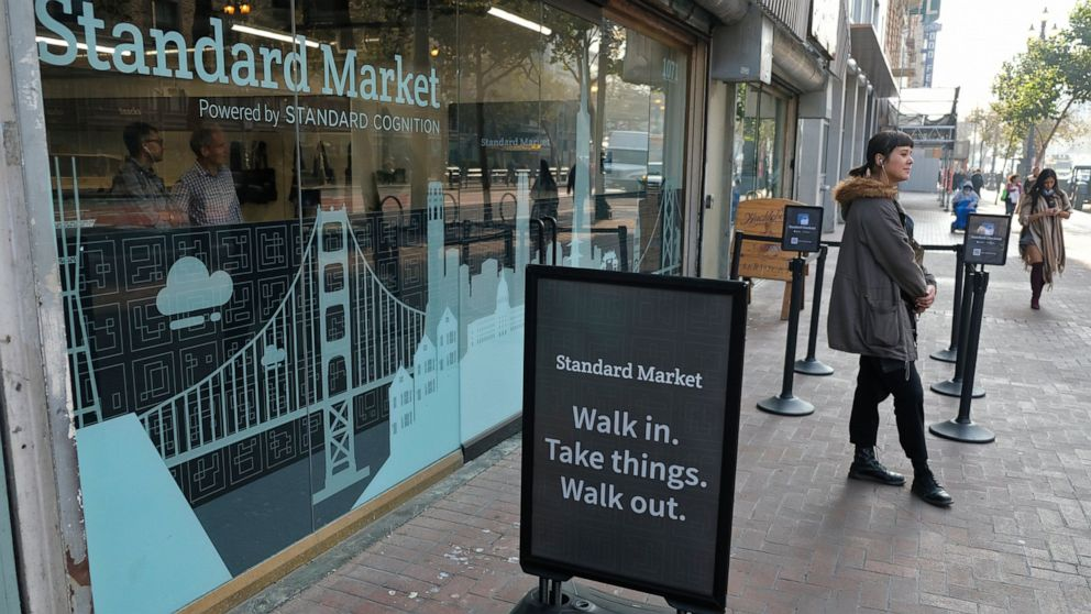 FILE - This Nov. 14, 2018, file photo shows the Standard Cognition cashier-less store on Market Street in San Francisco. A small number of restaurants and stores are going cash-free in the U.S., looking to cater to customers who increasingly pay with a card or smartphone. But a backlash is growing against the practice that some say discriminates against those who lack back accounts or rely on cash for most of their daily transactions. (AP Photo/Eric Risberg, File)
